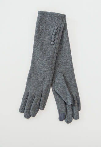 Long Gloves with Buttons - Grey