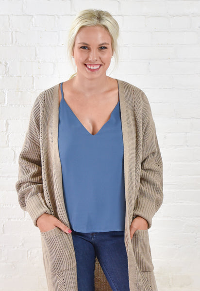 Mia Duster Cardigan - Taupe