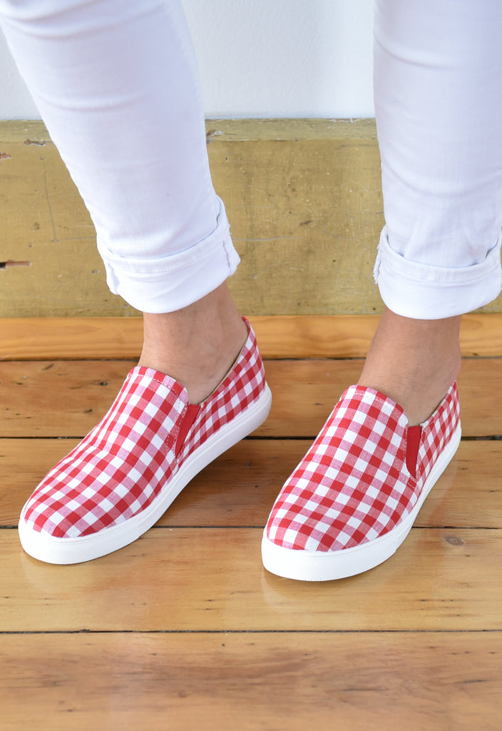 Layla Gingham Sneaker - Red