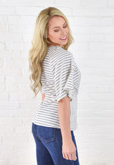 Madison Tie Front Top - Ivory