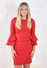 Jenny Bell Sleeve Dress - Red