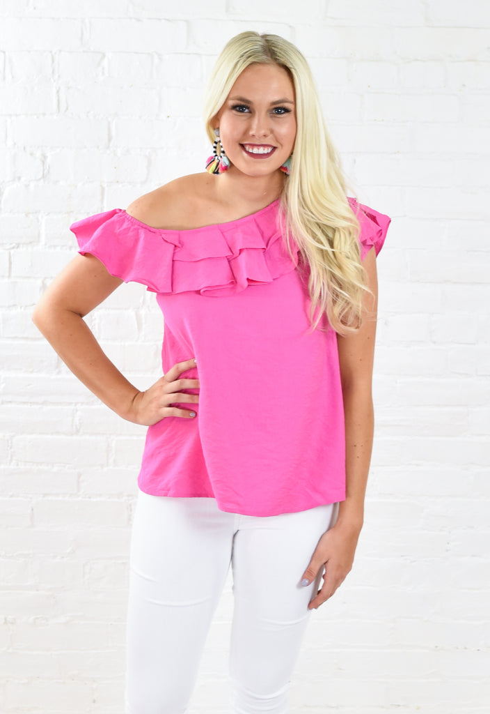 Classic Ruffle One Shoulder Top - Pink
