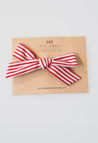 Single Petite Schoolgirl Bow - Candy Cane