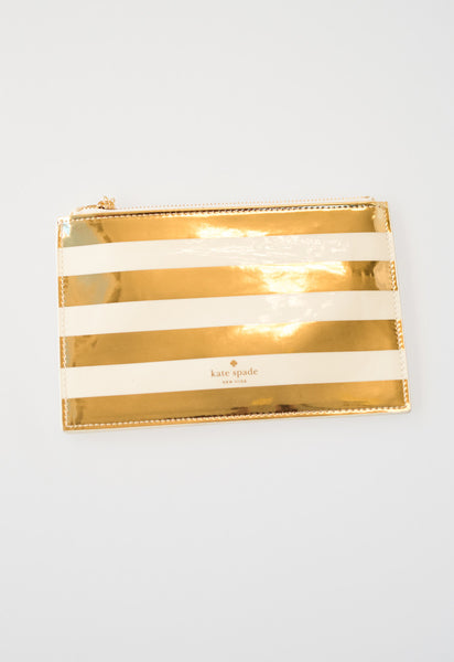 Gold Stripe Pencil Pouch by Kate Spade