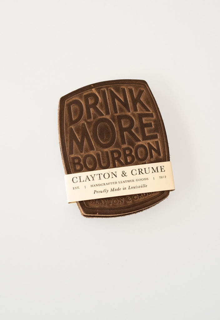 Leather Coaster - 'Drink More Bourbon'