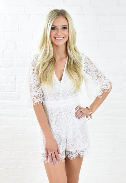 Lucy Lace Tie Waist Romper - White