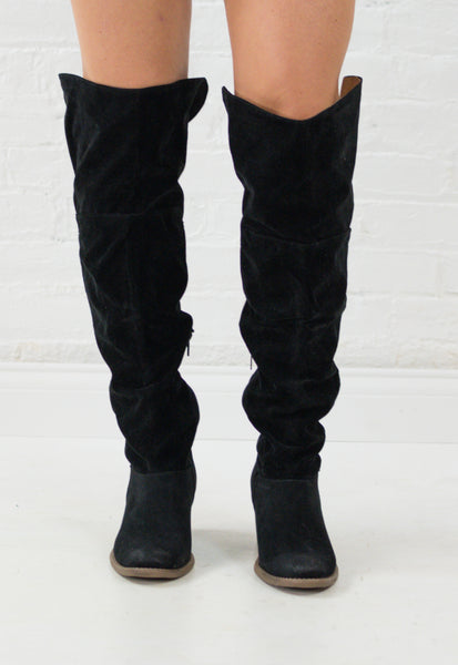 Tara Suede Over the Knee Boots - Black
