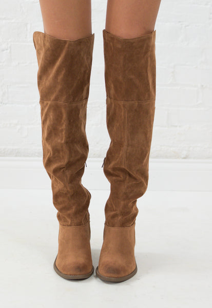Tara Suede Over the Knee Boots - Camel
