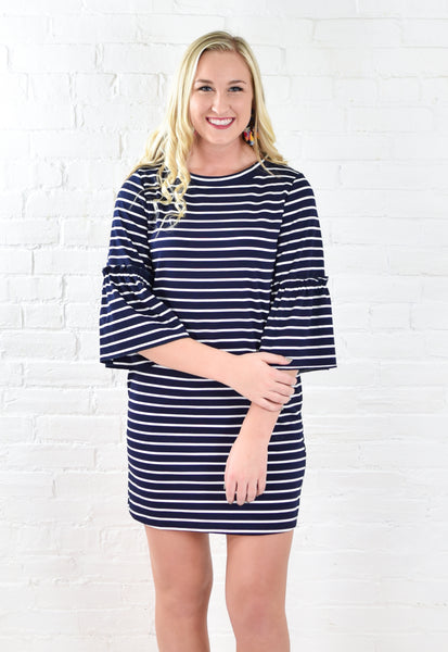 Bells and Stripes Dress - Navy