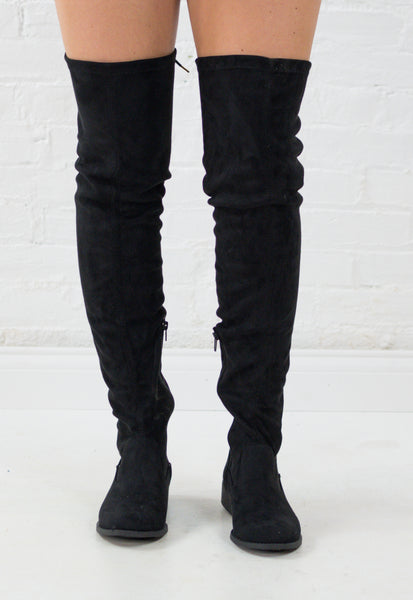 Mara Suede Lace Back Over the Knee Boots