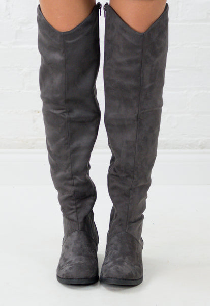 Kara Suede Over the Knee Riding Boots