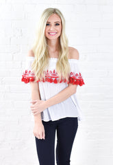 Tori Off Shoulder Tassel Top