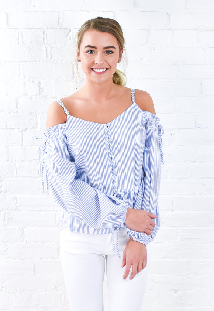By the Sea Off Shoulder Button Down Top