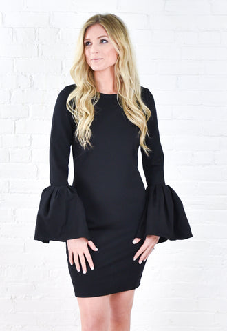 Kathryn Bell Sleeve Bodycon Dress - Black