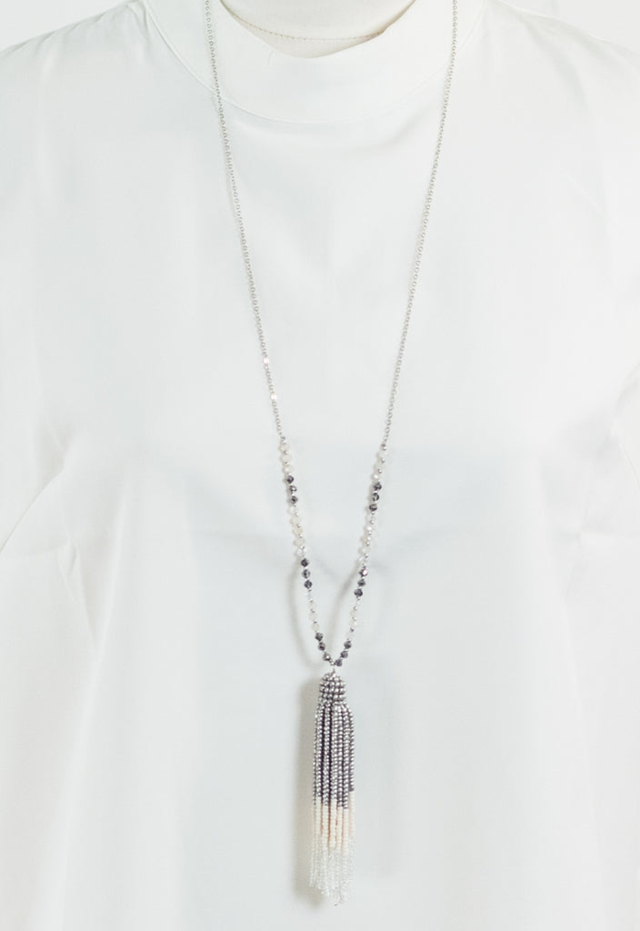 Ombre Beaded Tassel Necklace - Smoke