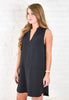 Bonnie V Neck Shift Dress - Black