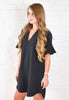 Monica Flutter Sleeve Dress - Black