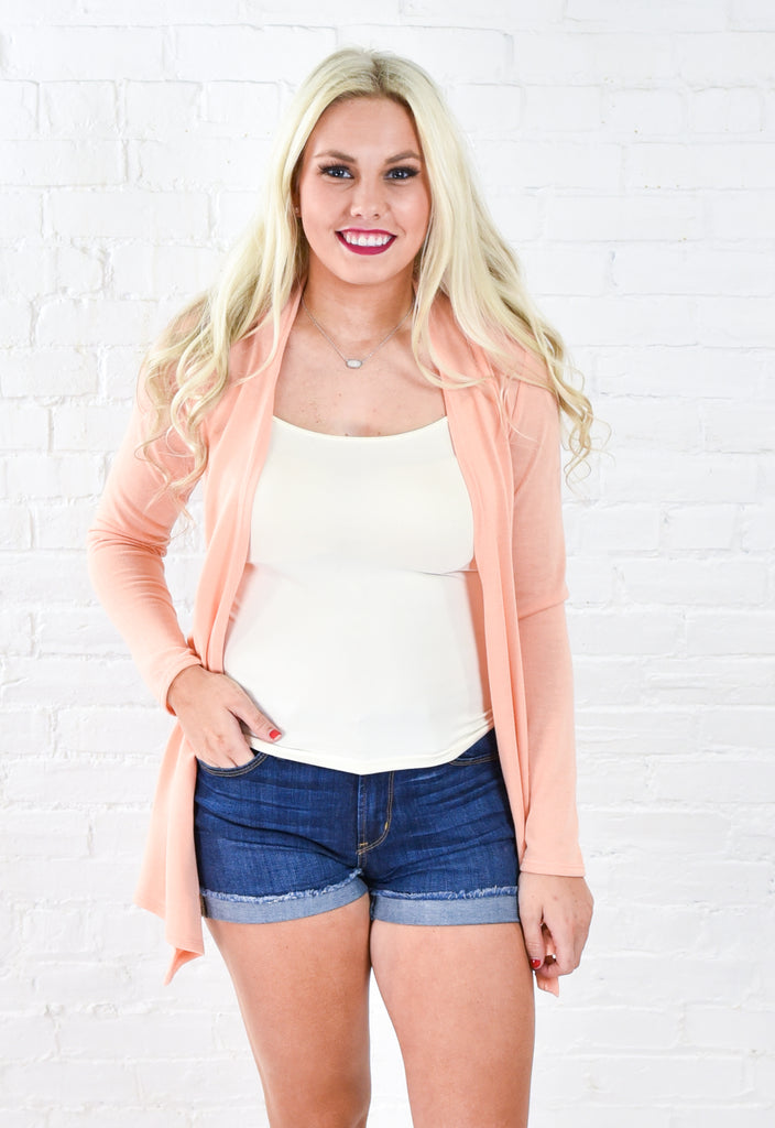 Annie Lightweight Open Cardigan - Peach