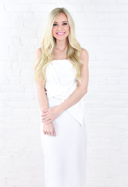 Meredith Tie Waist Dress - White