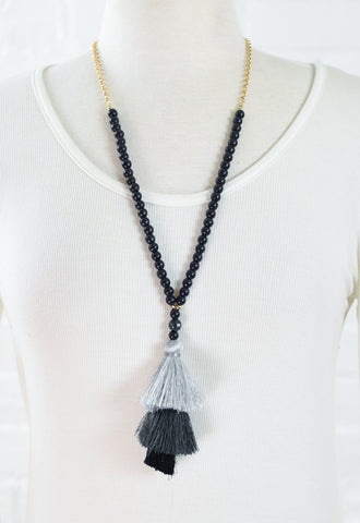 3 Tier Tassel Stone Necklace