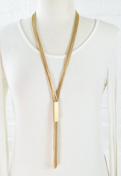 Mesh Chain Tassel w/ Square Necklace