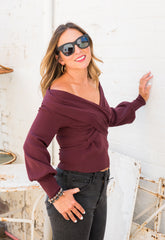 Colette Off the Shoulder Balloon Sleeve Sweater - Plum