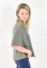 Gracie V Neck Top - Avocado