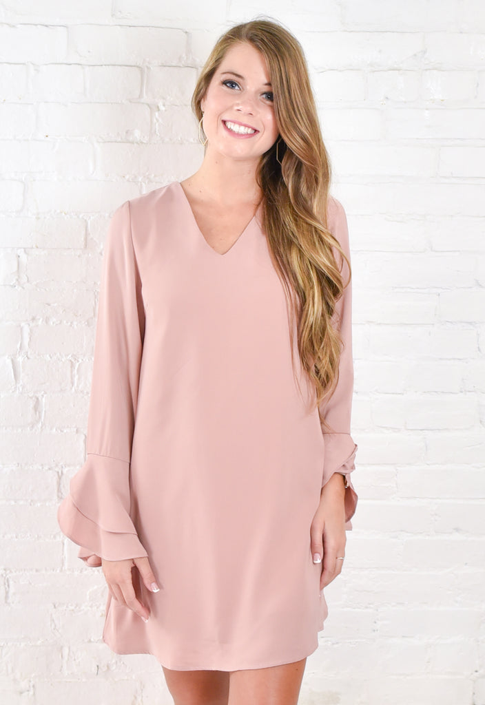 Noah Bell Sleeve Dress - Blush