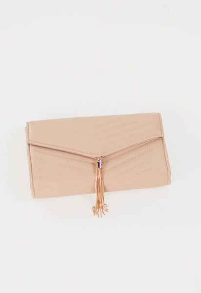 Luxe V Tassel Clutch with Chain - Nude