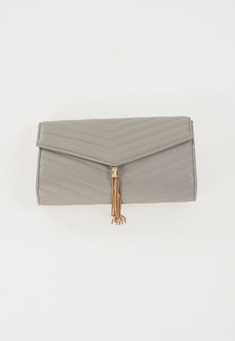 Luxe V Tassel Clutch with Chain - Grey