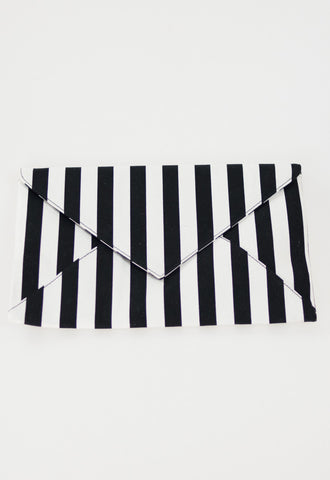 Kate Stripe Envelope Clutch with Chain