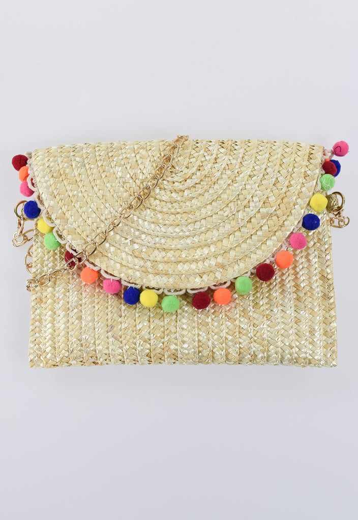 Summer Pom Pom Rafia Clutch - Tan