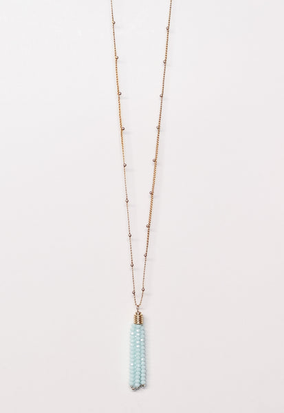 Aqua & Gold Tassel Necklace