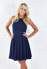 Navy Pleated Keyhole Back Top