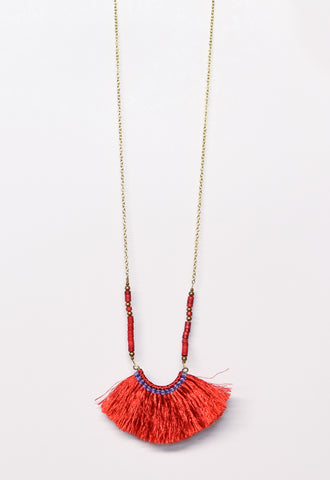 Beaded Fringe Fan Necklace - Red