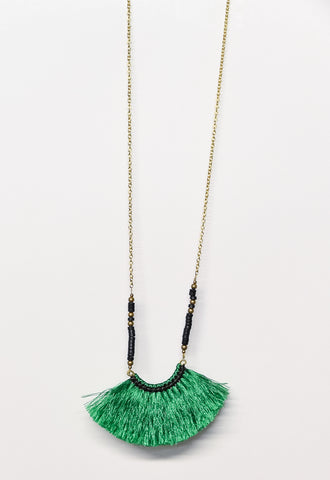 Beaded Fringe Fan Necklace - Green