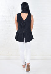 Heather Button Down Top with Tie Back - Black