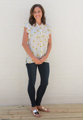 Heather Flower Print Tie Front Top