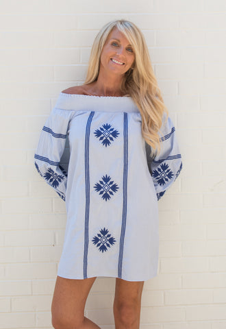 Molly Off the Shoulder Embroidered Dress