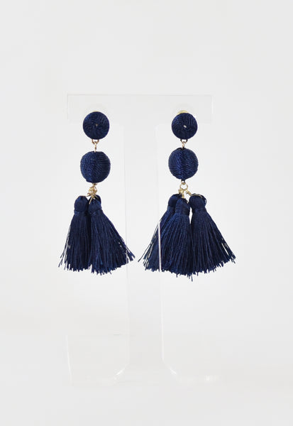 Triple Tassel Classic Earrings - Navy
