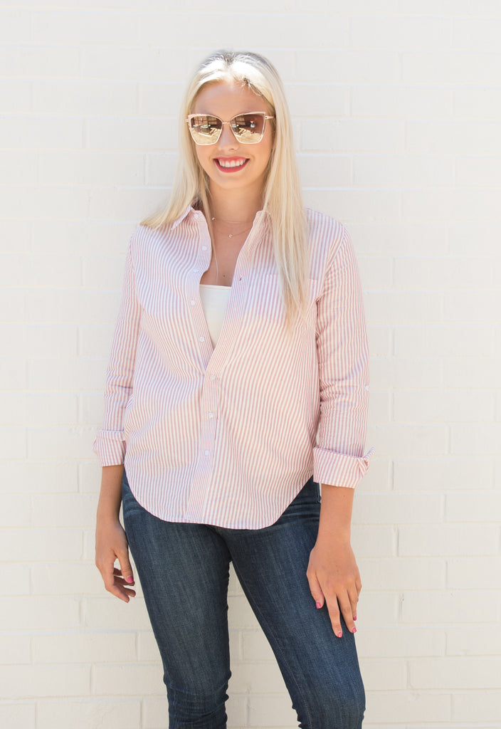 Ginger Stripe Button Down Top