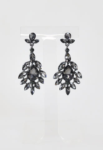 Oh Lala Glam Crystal Earrings - Black