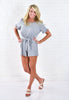 Ella Open Back Romper - Light Grey