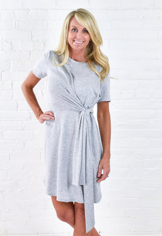 Alissa Tied T Shirt Dress - Grey