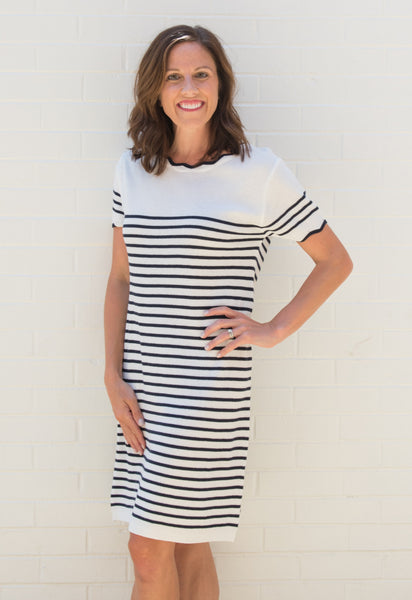Molly Stripe Shift Dress - Off White