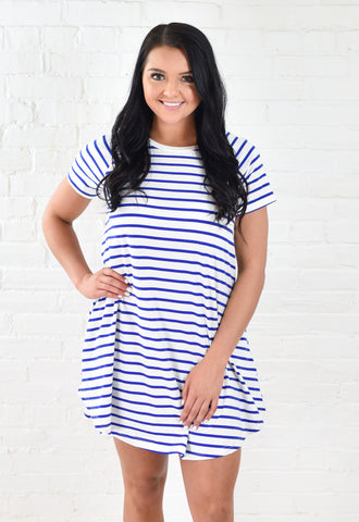 Every Day Striped Tee Dress with Pockets - Royal