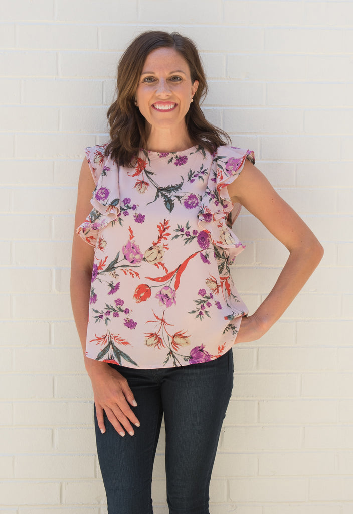 Francesca Flutter Top - Blush