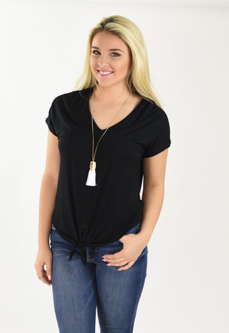 Double V Front Tie Tee - Black