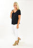 Modal Cotton Slub Cutout V Neck Tee - Black