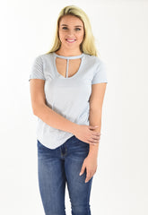 Cotton T-Strap Cutout Tank - Light Blue